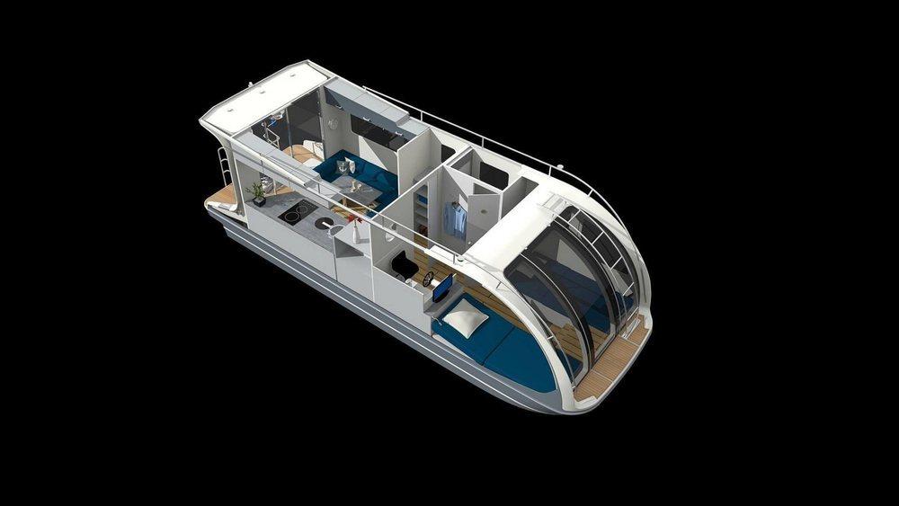 Ofrece <strong>cuatro lugares para dormir en dos camas, justo detrás se encuentra el espacio donde se toma el control cuando el vehículo está en el agua.</strong>