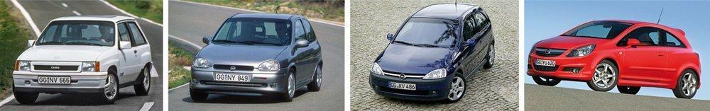 En 1988, el Corsa A recibió la primera versión GSi, de 100 CV. Y el Corsa B tuvo variante GSi 16V, de 109 CV  El Corsa C contó con una versión GSi de 125 CV; y en 2007 llegó el GSi de 150 CV, ya con turbo, del Corsa D.