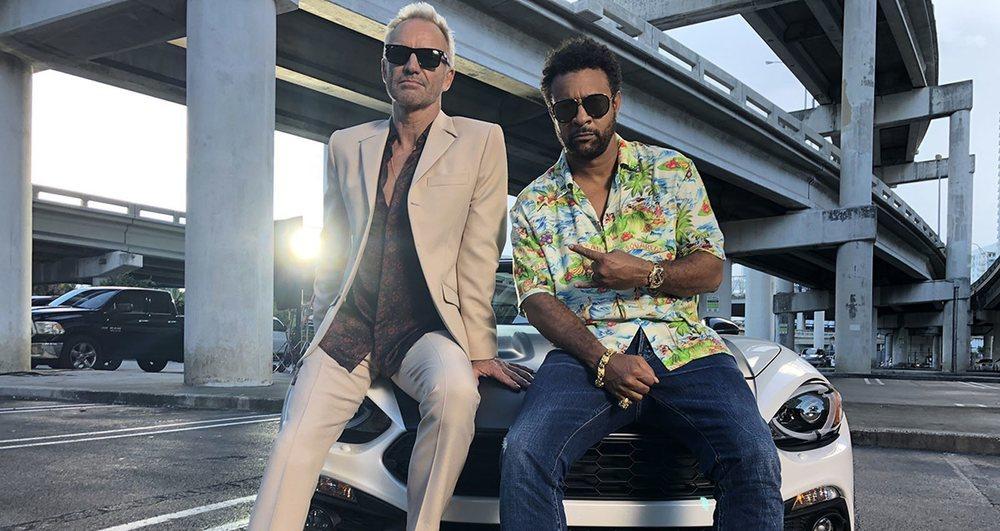 Sting y Shaggy durante la grabación del videoclip