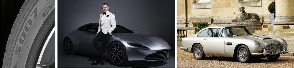 DB5, DBS, Vantage, Vanquish, DB10... Esos han sido los Aston Martin protagonistas en los largometrajes de 007, precisamente la denominación de las Bridgestone utilizadas en este DB11, un deportivo que nos adelantaron con el DB10 conducido por Daniel Craig en la película 'Spectre'.