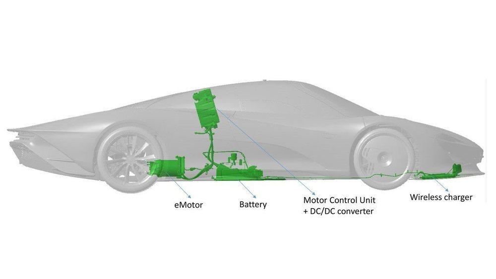 Bajo su carrocería se esconde un motor 4.0 V8 Biturbo y otro motor eléctrico. En total son 1.050 CV de potencia para superar los 400 km/h. Sus baterías sólo se podrán recargar de forma 'wireless' gracias al cargador delantero.