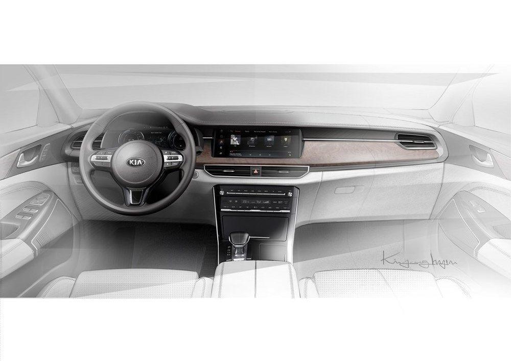 El interior del actualizado Kia Cadenza también variará por completo respecto al actual. Podría ser lanzado al mercado antes de que finalice el año, pero no llegará a Europa.
