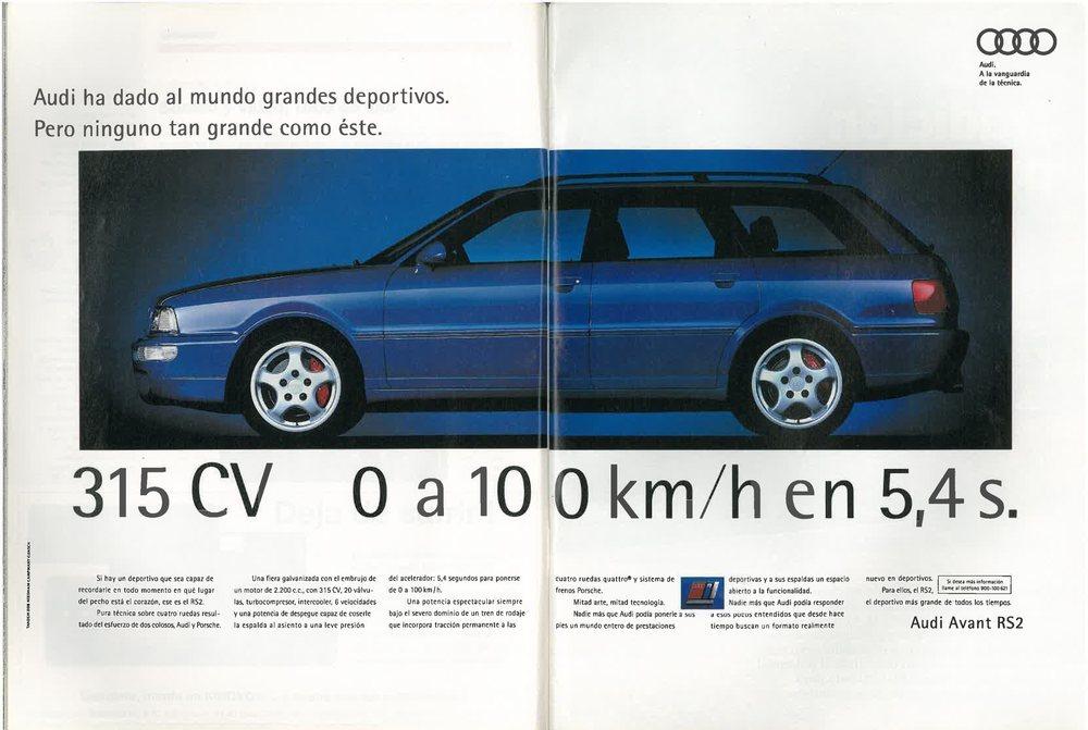 Anuncio de publicidad del Audi Avant RS2 publicado en Motor16 en 1994.