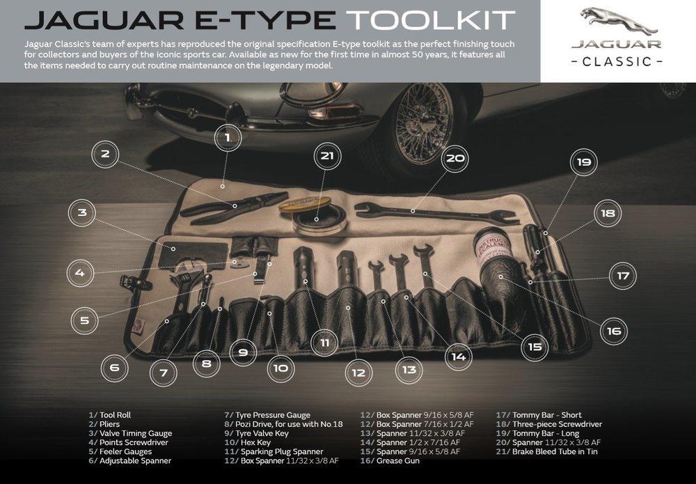El artesanal departamento Jaguar Classic vuelve a fabricar este completo juego de herramientas para tu legendario E-Type. Compuesto por 20 herramientas diferentes, cuesta unos 850 euros.