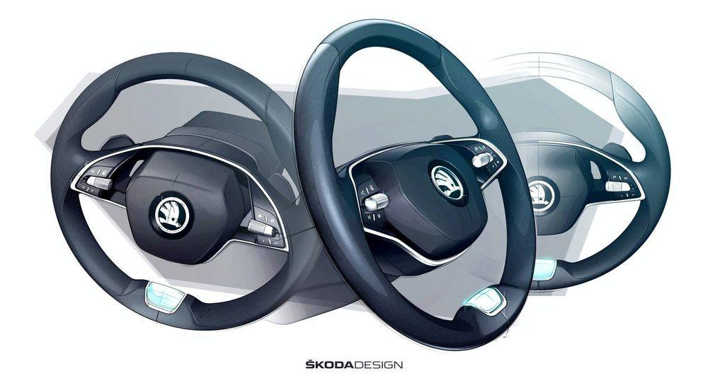 Este es el nuevo volante de la cuarta generación del Skoda Octavia. Cuenta con solo dos radios en los que se colocan los mandos necesarios para desplazarnos por los diferentes menús de su sistema.