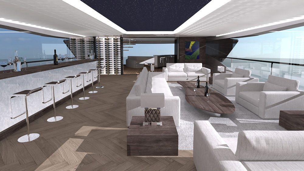 Con sus 50 metros de eslora, este Benetti Fisker 50 Concept se permite el lujo de contar con siete habitaciones, sala de cine, bar... Todos los suelos son de madera noble en una embarcación cuyo casco está fabricado en fibra de carbono.