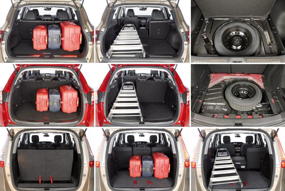 El Kadjar ofrece 472 litros de maletero; el Mégane 524 y el Grand Scénic, con cinco plazas ofrece 702 litros.