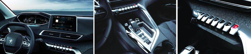 El teclado central da acceso a todas las funciones: audio, climatizador, navegación, teléfono, parámetros del vehículo, conectividad (y luces de emergencia), que se visualizan en la pantalla central y se controlan desde el volante.