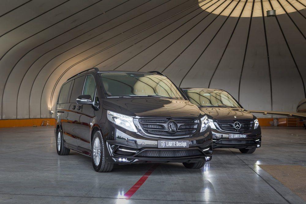 Además de retocar deportivos y berlinas de lujo, Larte Design también personaliza los nuevos Mercedes Clase V. Para ellos ofrece nuevos paragolpes, llantas, parrillas... Pero lo verdaderamente sorprende se encuentra en su habitáculo, semejante a un jet privado.