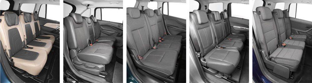 De izquierda a derecha, la segunda fila de Grand C4 Picasso, Grand C-Max, Zafira, 5008 y Touran. La más ancha es la del Ford gracias a sus puertas correderas, pero el modelo del óvalo tiene una banqueta central estrechísima: sólo 28 centímetros, frente a los 49,5 de las plazas de los extremos.