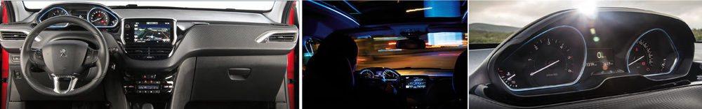 El Head-up Display se sitúa en el eje visual que apunta a la calzada. Va rodeado de LED azules, presentes también en el techo panorámico.