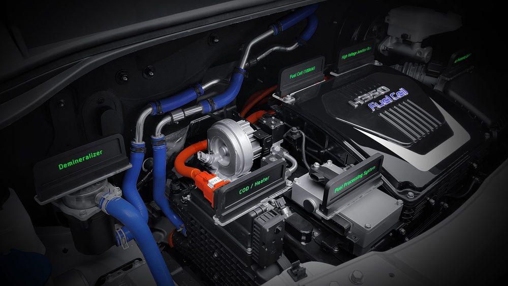 El sistema propulsor del Hyundai H350 FCV es muy similar al del propio ix35 FCV, y está compuesto por un depósito de hidrógeno, una batería de pilas de combustible, una batería de alto voltaje, un inversor y un motor eléctrico
