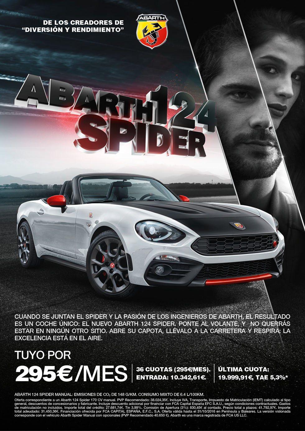 El Abarth 124 Spider ya está a la venta. Por 295 euros al mes te garantiza la más divertida experiencia de conducción.