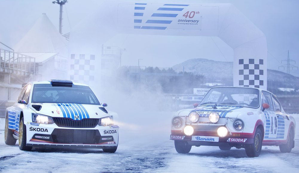 En la primera ronda del Campeonato Mundial de Rally FIA (WRC 2), cuando se inaugure una nueva campaña por el título, el Skoda Fabia R5 del equipo oficial lucirá las mismas rayas azules y rojas del coche ganador de 1977