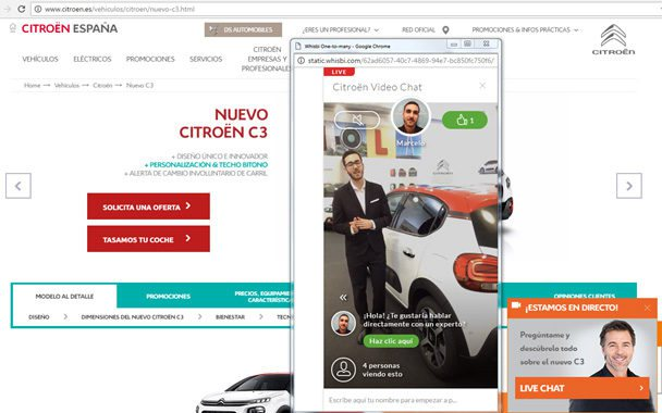 De lunes a viernes, a las 10.00, las 16.00y las 22.00 horas un showroom virtual en la web de Citroën muestra todos los detalles del nuevo C3.