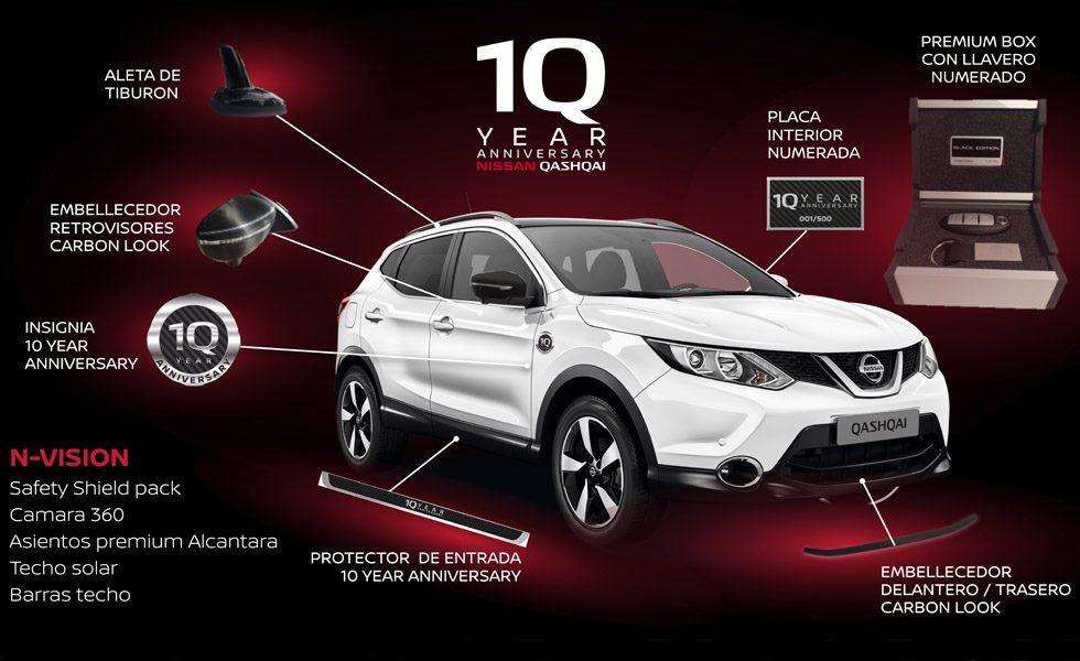 Sólo habrá 500 unidades de estos Nissan Qashqai 10 Year Anniversary, que parten del nivel N-Vision pero que suman un equipamiento extra valorado en 800 euros. Se ofrece con cualquiera de sus mecánicas.