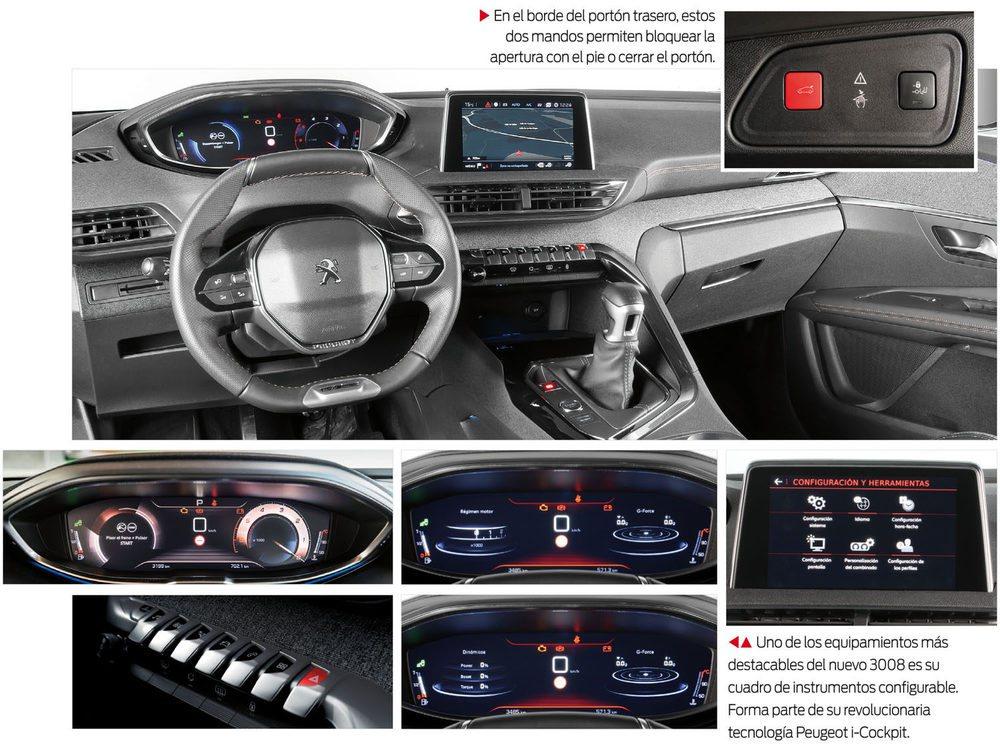 El cuadro de instrumentos, con el ya clásico i-cockpit, es uno de los puntos que más llama la atención en el Peugeot 3008.