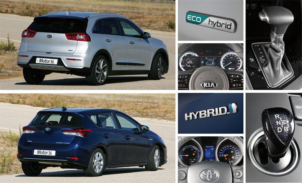 Cambio de doble embrague en el Kia y de variador continuo en el Toyota. Más eficaz el coreano.