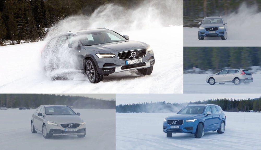 Un lago helado es el escenario ideal para poner a prueba las capacidades de los modelos de tracción total de Volvo. Todos han cumplido con nota, aunque las características de tamaño y volumen del XC90 no son las más apropiadas, frente al compacto V40 CC.