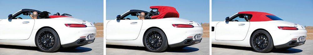 La capota del AMG GT Roadster está construída en acero, aluminio y magnesio. Su estructura se compone de tres capas, y se puede accionar hasta los 50 km/h, tardando nada más que 11 segundos en ponerse o quitarse