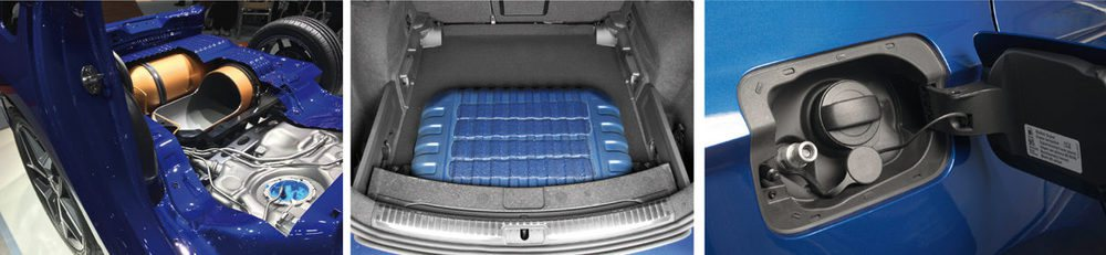 El espacio del maletero dedicado en otros modelos a la rueda de repuesto, se convierte aquí en el depósito de gas.