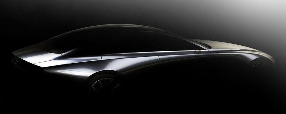 Este diseño de lo que parece un sedán coupé indicar rasgos del futuro estilo de los modelos de Mazda.