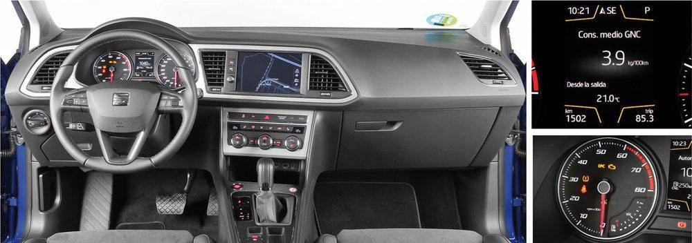 A simple vista el salpicadero del Seat León de gas es igual que el utilizado por los demás León. Pero tiene sutiles cambios que permiten conocer la reserva de gas, el consumo de este combustible... La versión DSG de 7 velocidades gasta lo mismo que el modelo manual.