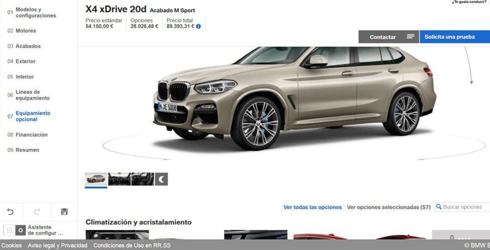 El nuevo BMW X4 es ligeramente más caro que su antecesor y unos 3.000 euros más caro que un X3 equivalente, cantidad más que asumible por su exclusividad. Conviene no abusar de las opciones, pues su precio se puede disparar por las nubes.