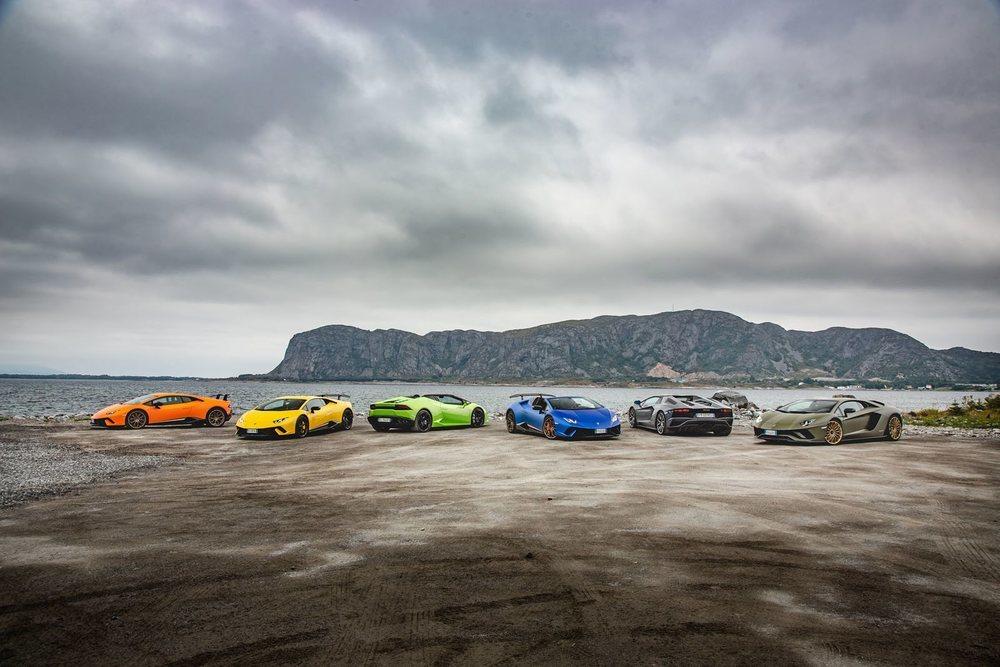 Los seis Lamborghini recorrieron unos 500 kilómetros entre cascadas, montañas y glaciares